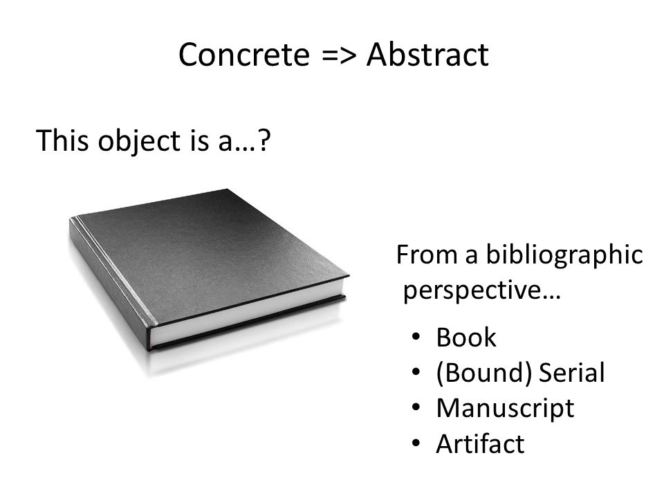 Data Music/sound Video Software ??? CD ROM DVD Containing… Concrete => Abstract This object is a…?