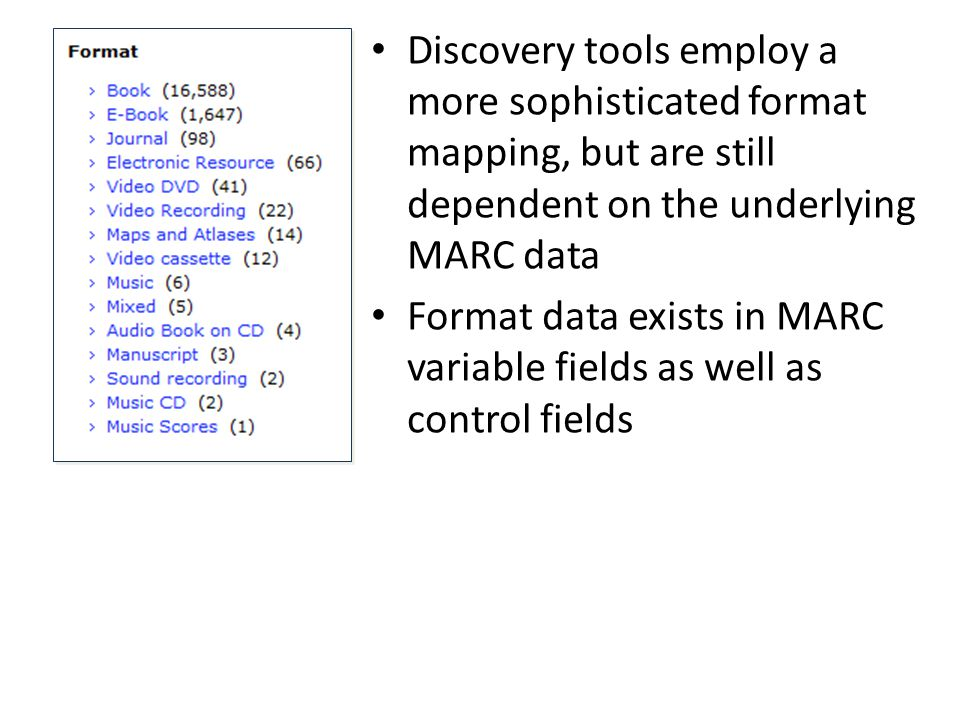Discovery tools employ a more sophisticated format mapping, but are still dependent on the underlying MARC data Format data exists in MARC variable fields as well as control fields