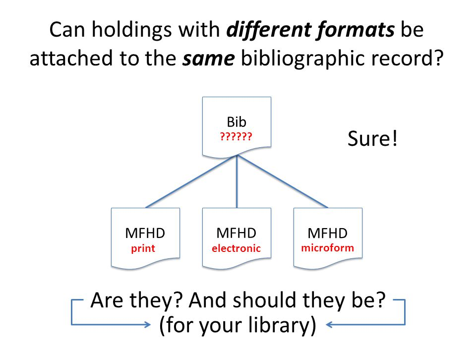 Bib MFHD Can holdings with different formats be attached to the same bibliographic record.
