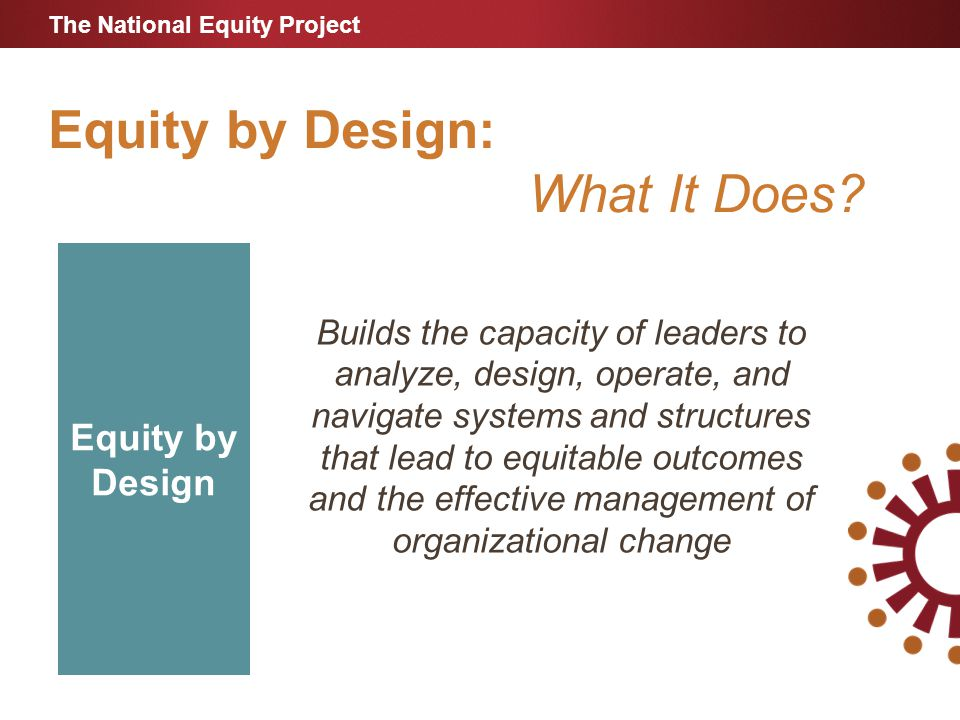 Equity by Design: What It Does.