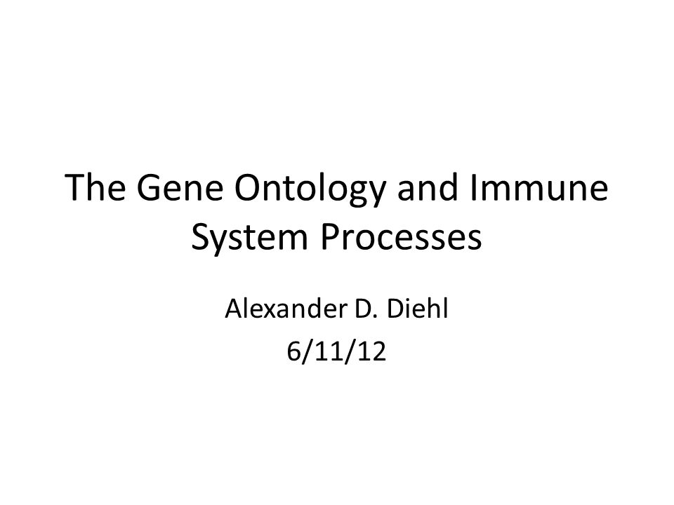 The Gene Ontology and Immune System Processes Alexander D. Diehl 6/11/12