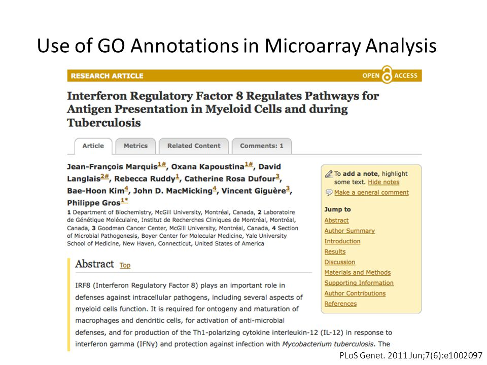 Use of GO Annotations in Microarray Analysis PLoS Genet. 2011 Jun;7(6):e1002097