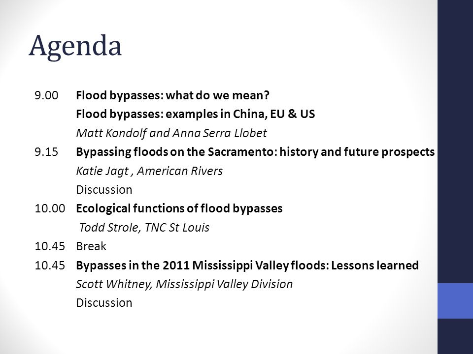 9.00Flood bypasses: what do we mean.
