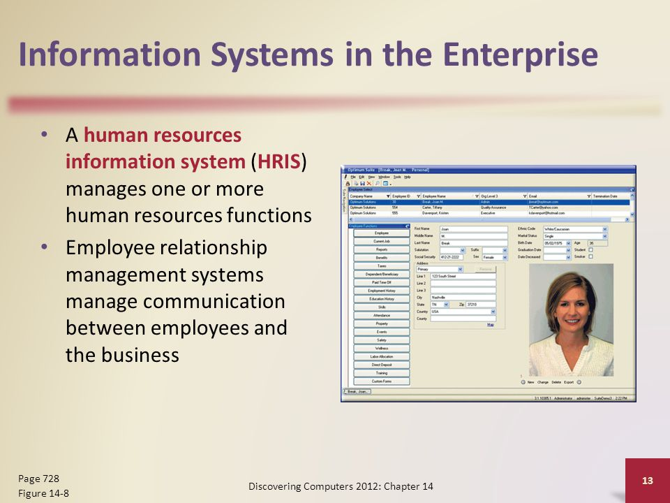 Information Systems in the Enterprise A human resources information system (HRIS) manages one or more human resources functions Employee relationship management systems manage communication between employees and the business Discovering Computers 2012: Chapter 14 13 Page 728 Figure 14-8