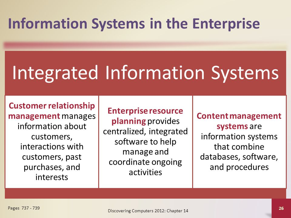 Information Systems in the Enterprise Integrated Information Systems Customer relationship management manages information about customers, interactions with customers, past purchases, and interests Enterprise resource planning provides centralized, integrated software to help manage and coordinate ongoing activities Content management systems are information systems that combine databases, software, and procedures Discovering Computers 2012: Chapter 14 26 Pages 737 - 739
