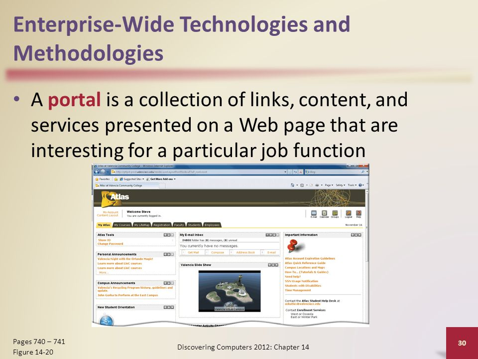 Enterprise-Wide Technologies and Methodologies A portal is a collection of links, content, and services presented on a Web page that are interesting for a particular job function Discovering Computers 2012: Chapter 14 30 Pages 740 – 741 Figure 14-20