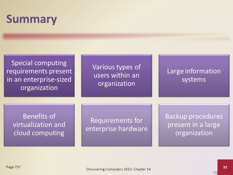 Summary Special computing requirements present in an enterprise-sized organization Various types of users within an organization Large information systems Benefits of virtualization and cloud computing Requirements for enterprise hardware Backup procedures present in a large organization Discovering Computers 2012: Chapter 14 52 Page 757