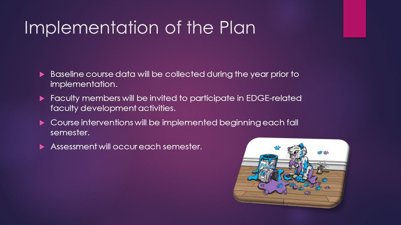 Implementation of the Plan  Baseline course data will be collected during the year prior to implementation.  Faculty members will be invited to part