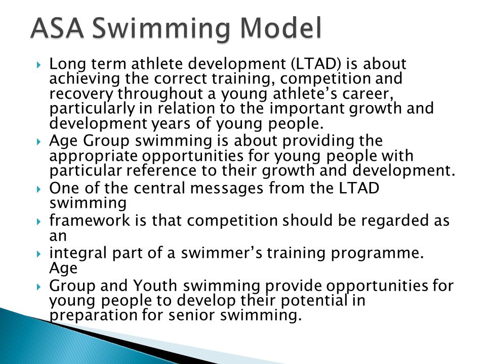  Long term athlete development (LTAD) is about achieving the correct training, competition and recovery throughout a young athlete's career, particul