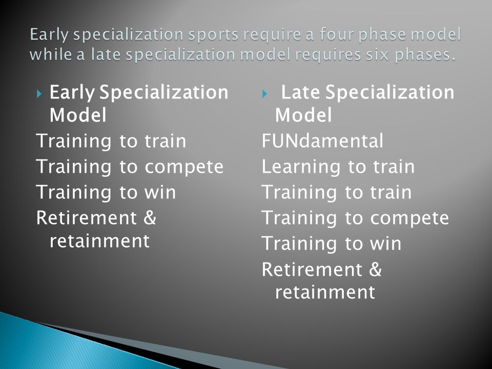  Early Specialization Model Training to train Training to compete Training to win Retirement & retainment  Late Specialization Model FUNdamental Lea