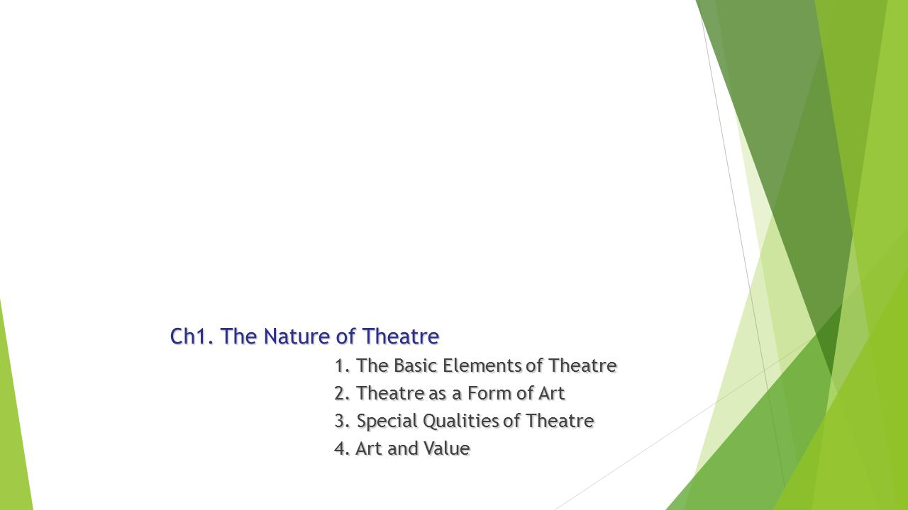 Ch1. The Nature of Theatre 1. The Basic Elements of Theatre 1.