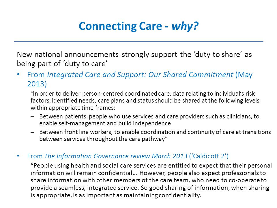 Connecting Care - why.
