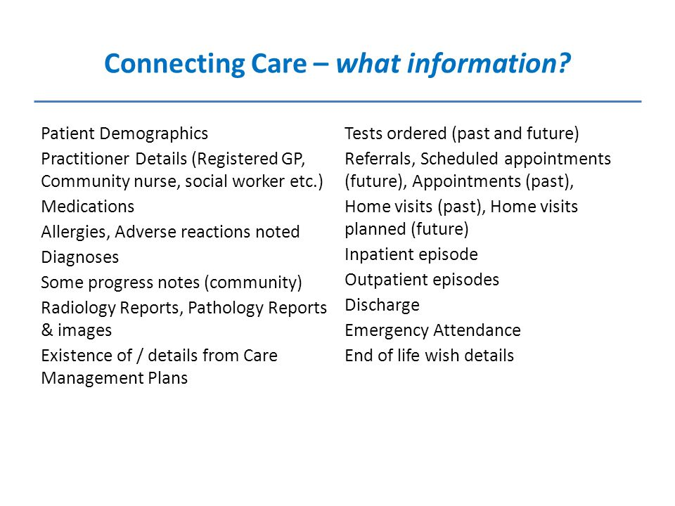 Connecting Care – what information.
