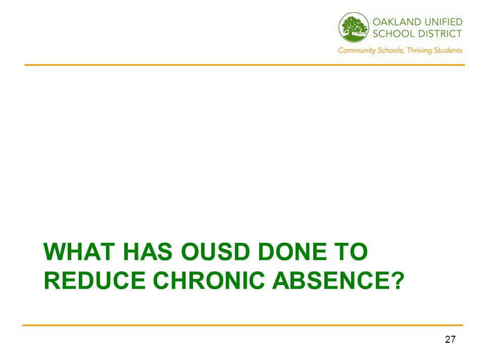 WHAT HAS OUSD DONE TO REDUCE CHRONIC ABSENCE 27