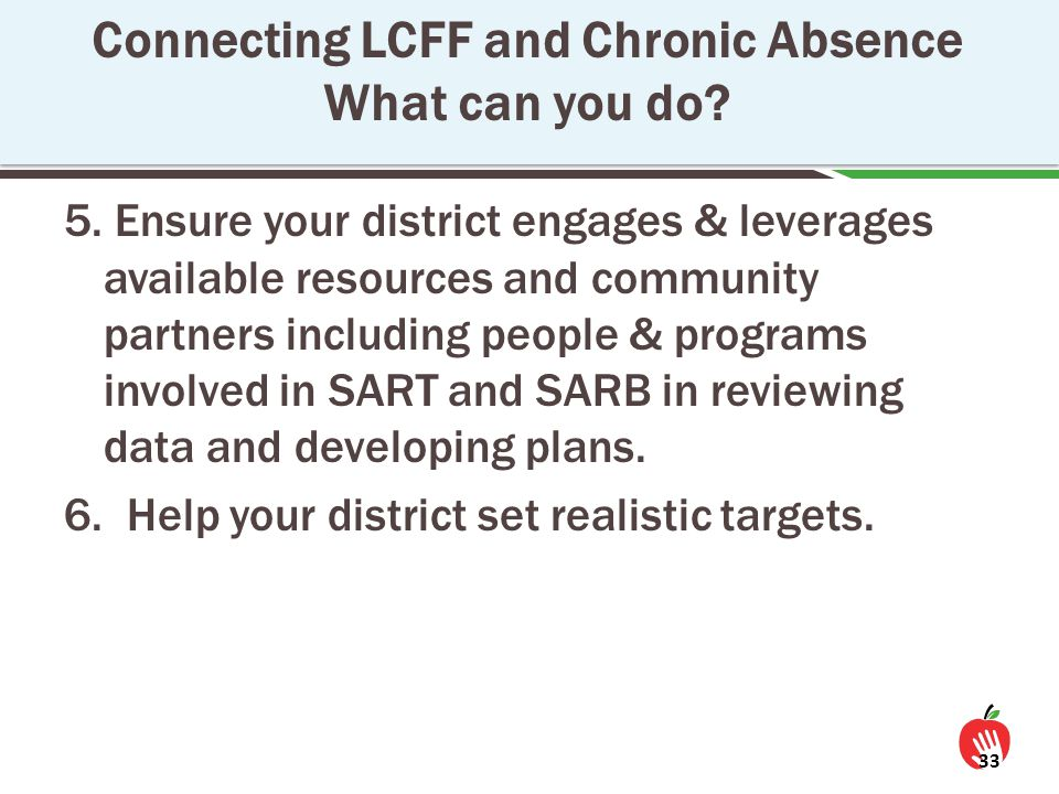 5. Ensure your district engages & leverages available resources and community partners including people & programs involved in SART and SARB in review