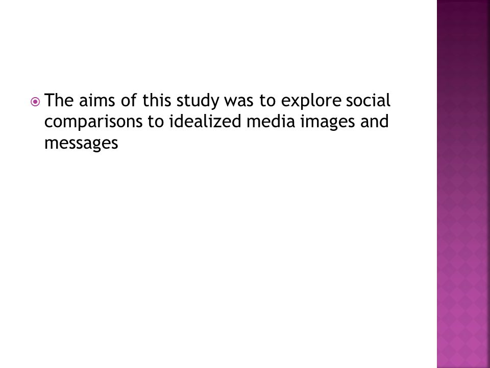  The aims of this study was to explore social comparisons to idealized media images and messages