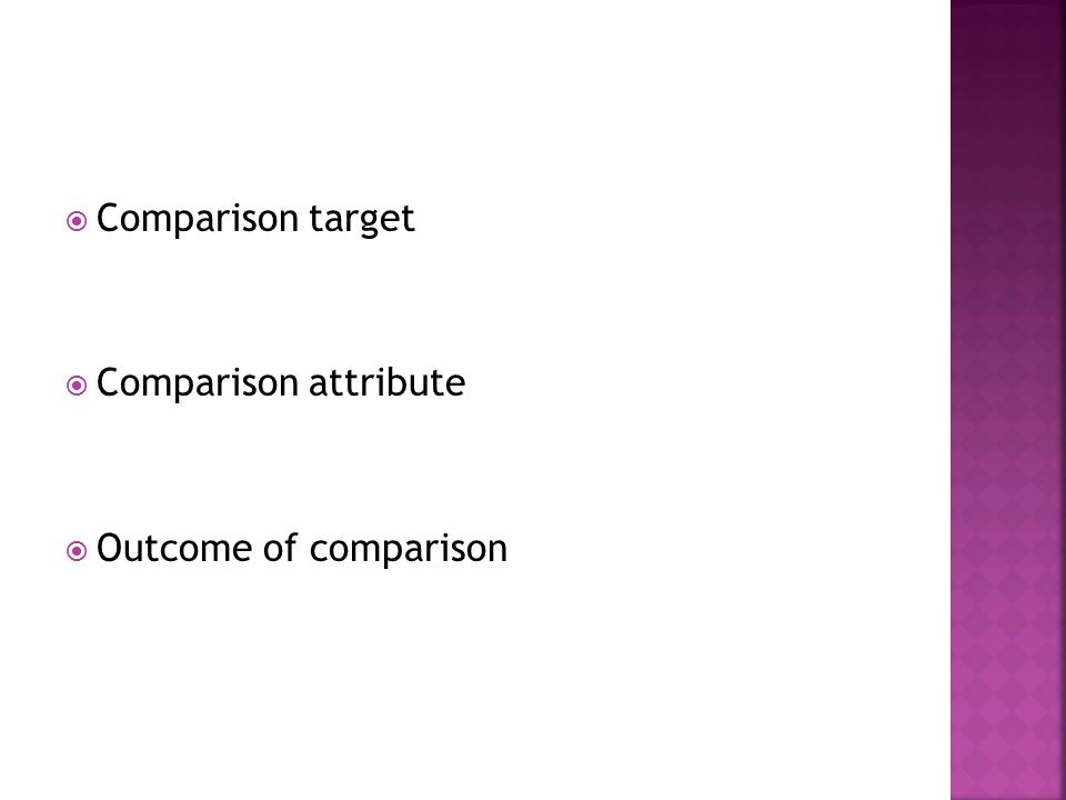  Comparison target  Comparison attribute  Outcome of comparison