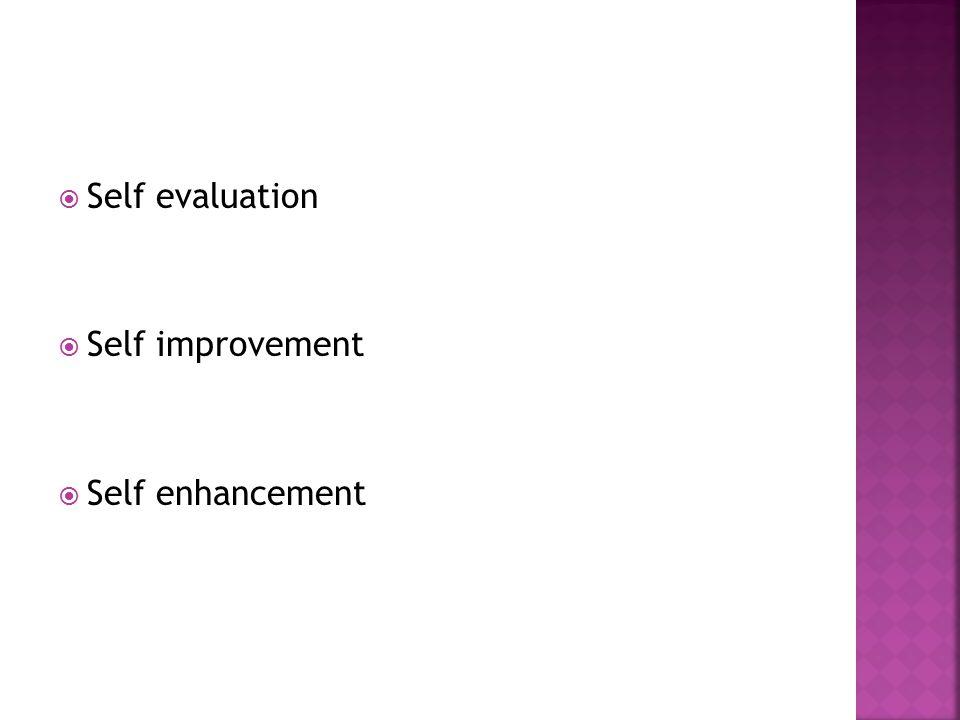  Self evaluation  Self improvement  Self enhancement