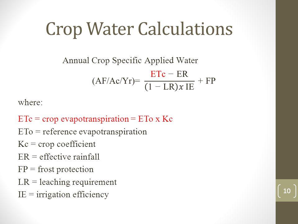 Crop Water Calculations 10