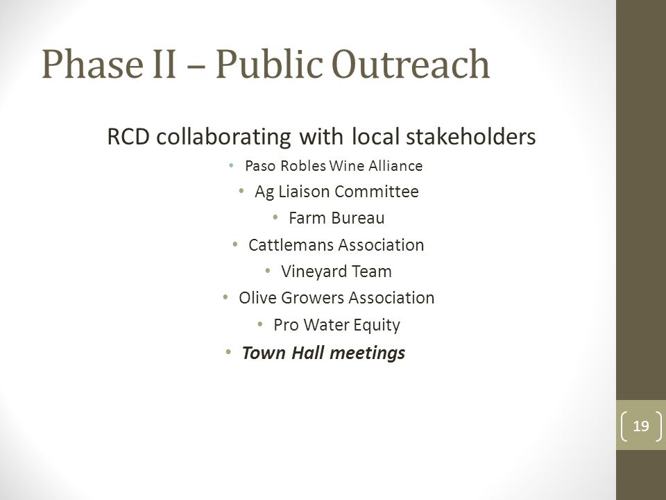 Phase II – Public Outreach RCD collaborating with local stakeholders Paso Robles Wine Alliance Ag Liaison Committee Farm Bureau Cattlemans Association Vineyard Team Olive Growers Association Pro Water Equity Town Hall meetings 19
