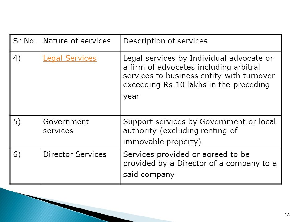 18 Sr No.Nature of servicesDescription of services 4)Legal ServicesLegal services by Individual advocate or a firm of advocates including arbitral ser