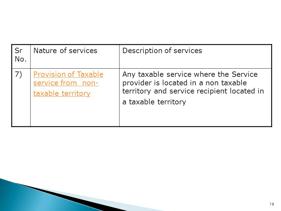 19 Sr No. Nature of servicesDescription of services 7)Provision of Taxable service from non- taxable territory Any taxable service where the Service p