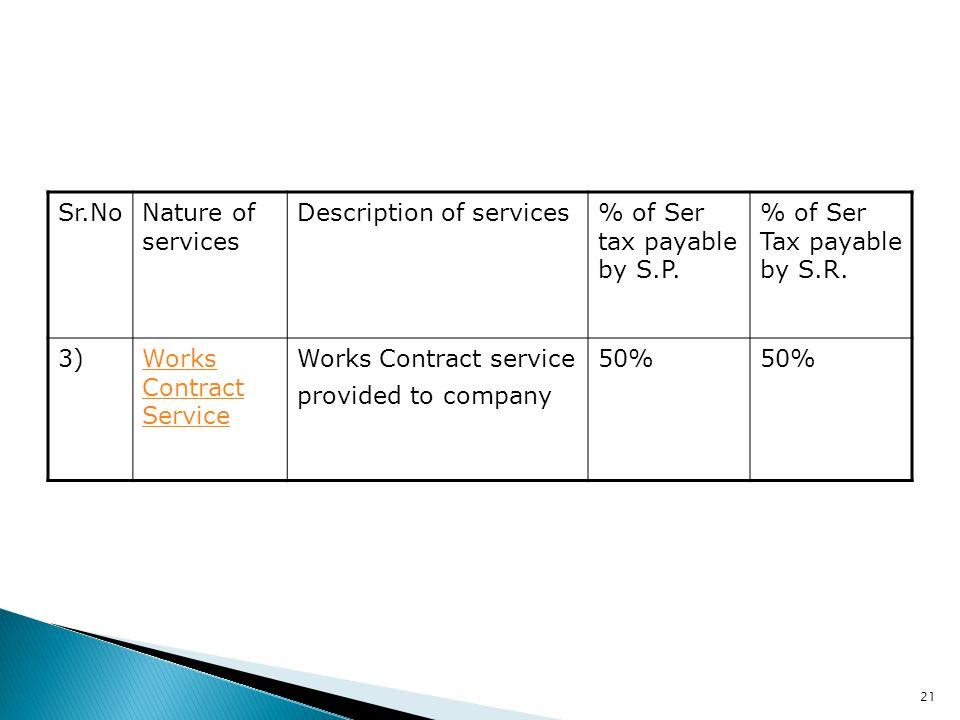 21 Sr.NoNature of services Description of services% of Ser tax payable by S.P. % of Ser Tax payable by S.R. 3)Works Contract Service Works Contract se