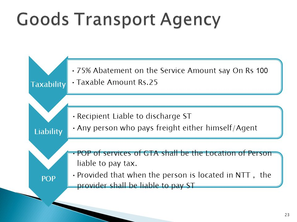 23 Taxability 75% Abatement on the Service Amount say On Rs 100 Taxable Amount Rs.25 Liability Recipient Liable to discharge ST Any person who pays freight either himself/Agent POP POP of services of GTA shall be the Location of Person liable to pay tax.