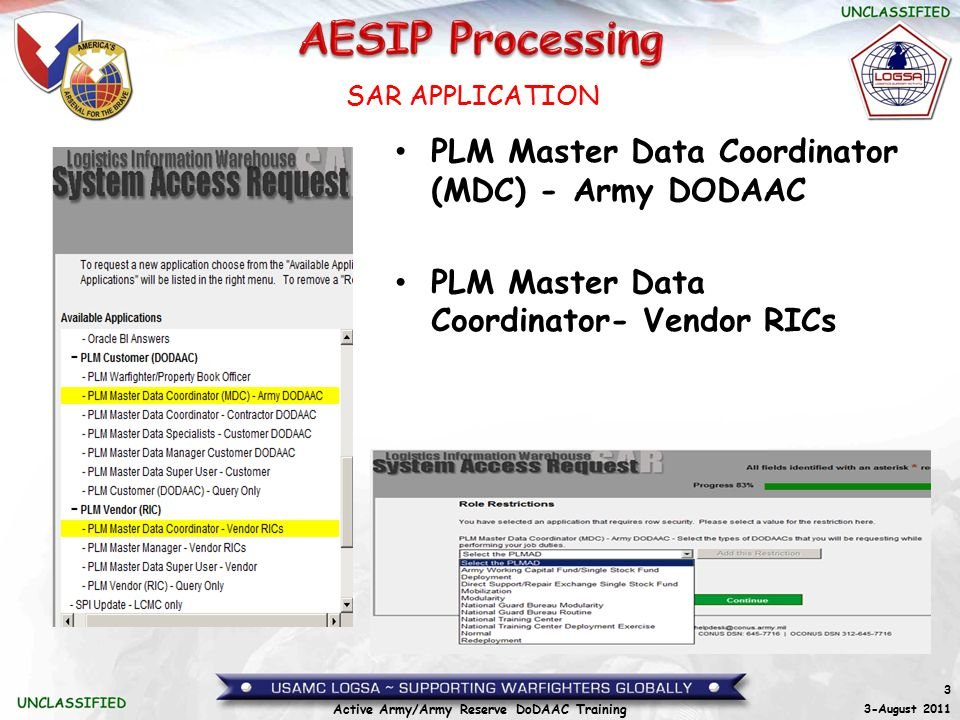 3 3-August 2011 Active Army/Army Reserve DoDAAC Training PLM Master Data Coordinator (MDC) - Army DODAAC PLM Master Data Coordinator- Vendor RICs SAR APPLICATION