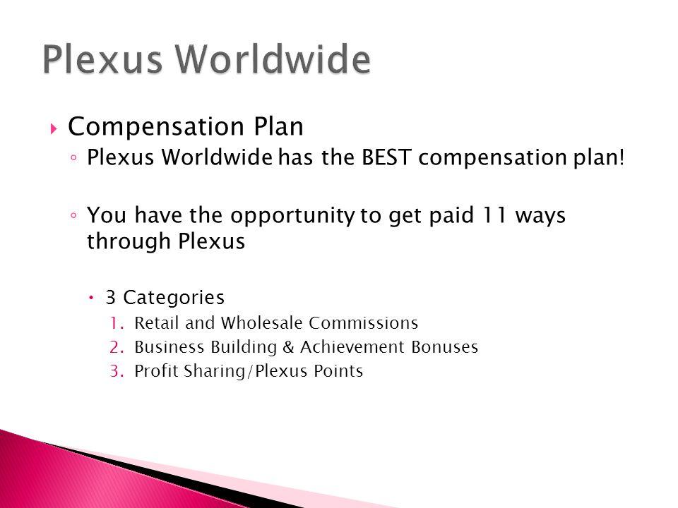  Compensation Plan ◦ Plexus Worldwide has the BEST compensation plan.