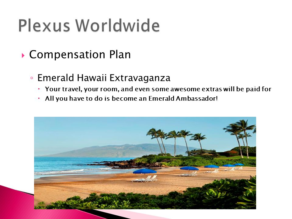  Compensation Plan ◦ Emerald Hawaii Extravaganza  Your travel, your room, and even some awesome extras will be paid for  All you have to do is become an Emerald Ambassador!