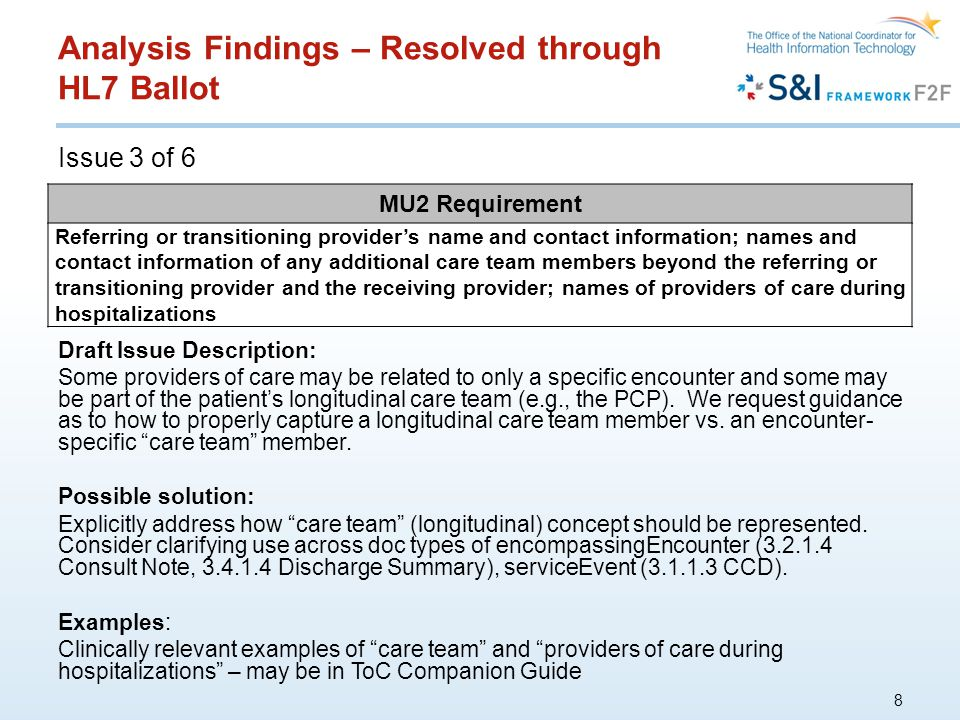 Analysis Findings – Resolved through HL7 Ballot Issue 3 of 6 8 MU2 Requirement Referring or transitioning provider's name and contact information; names and contact information of any additional care team members beyond the referring or transitioning provider and the receiving provider; names of providers of care during hospitalizations Draft Issue Description: Some providers of care may be related to only a specific encounter and some may be part of the patient's longitudinal care team (e.g., the PCP).