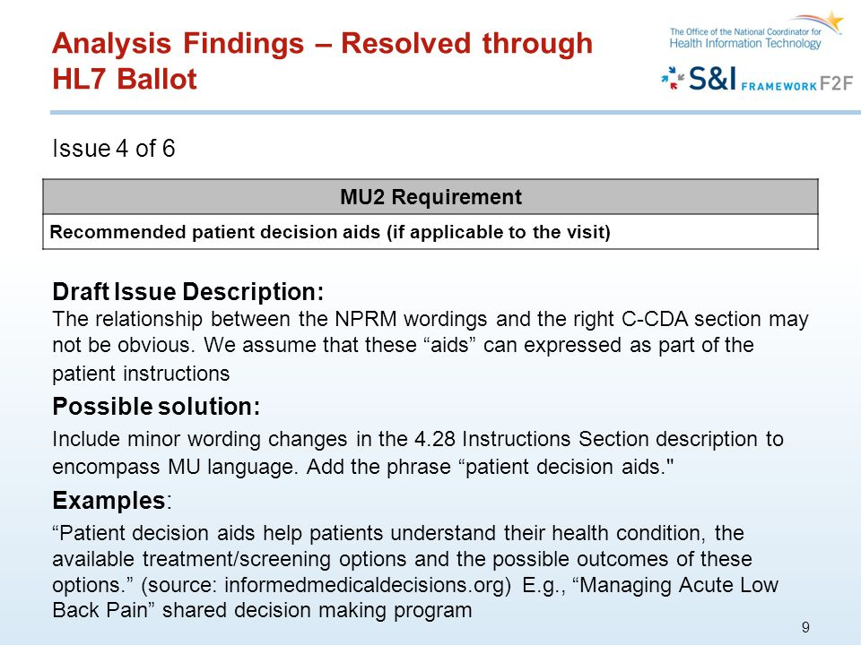 Analysis Findings – Resolved through HL7 Ballot Issue 4 of 6 9 MU2 Requirement Recommended patient decision aids (if applicable to the visit) Draft Issue Description: The relationship between the NPRM wordings and the right C-CDA section may not be obvious.