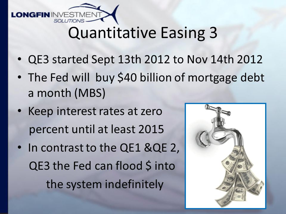 Quantitative Easing 3 QE3 started Sept 13th 2012 to Nov 14th 2012 The Fed will buy $40 billion of mortgage debt a month (MBS) Keep interest rates at zero percent until at least 2015 In contrast to the QE1 &QE 2, QE3 the Fed can flood $ into the system indefinitely 6