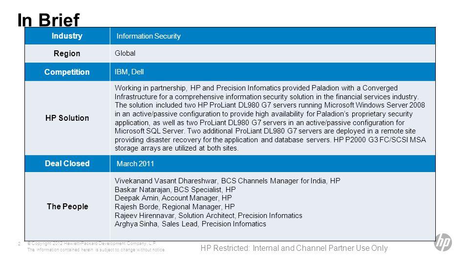 In Brief © Copyright 2012 Hewlett-Packard Development Company, L.P.