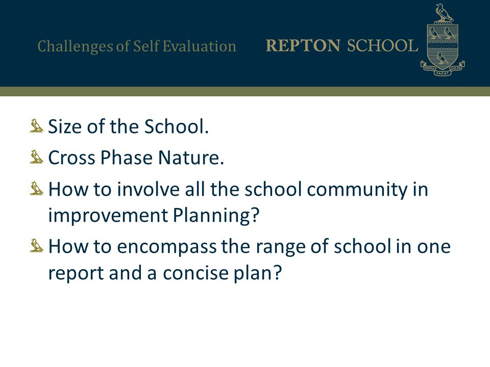 Challenges of Self Evaluation Size of the School. Cross Phase Nature.