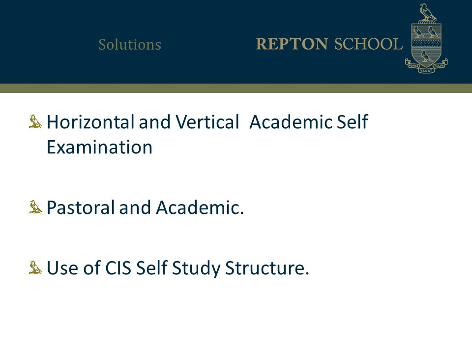 Solutions Horizontal and Vertical Academic Self Examination Pastoral and Academic.