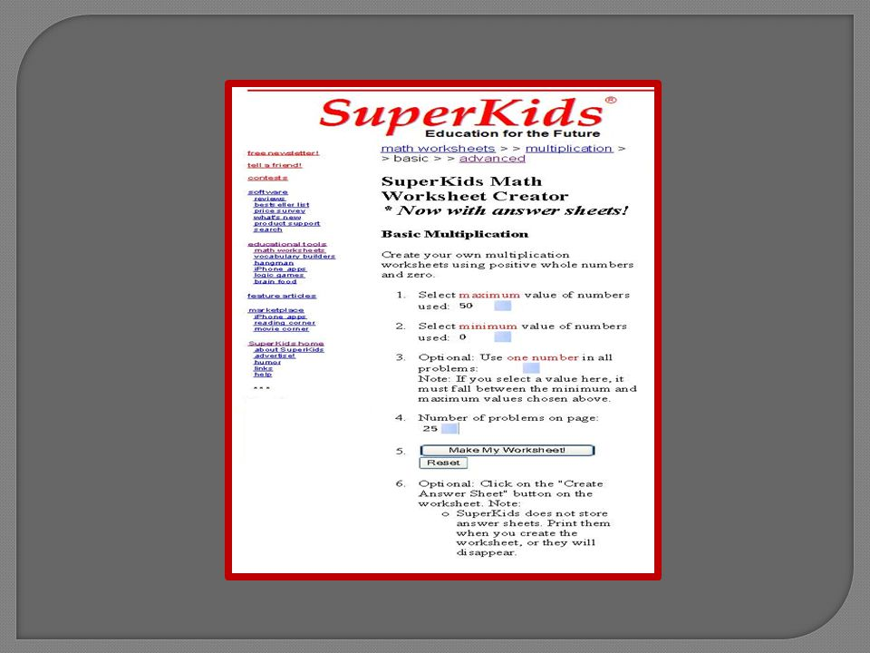 A worksheet will be created to your specifications, ready to be printed for use.