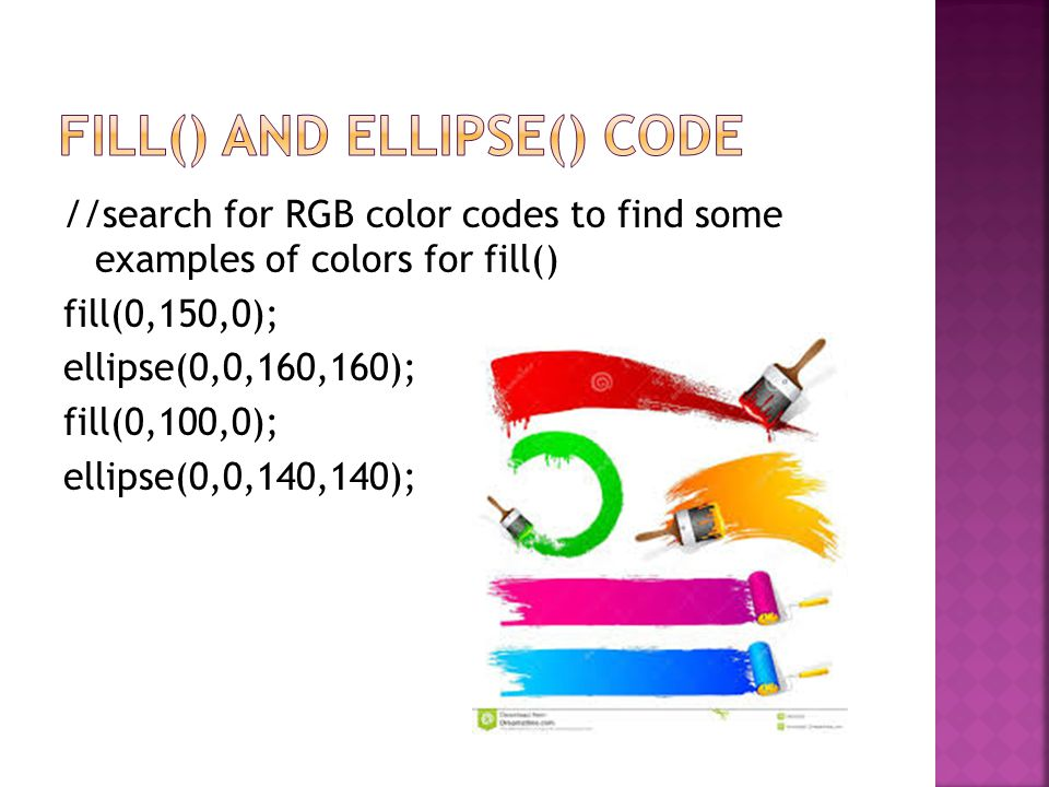 //search for RGB color codes to find some examples of colors for fill() fill(0,150,0); ellipse(0,0,160,160); fill(0,100,0); ellipse(0,0,140,140);