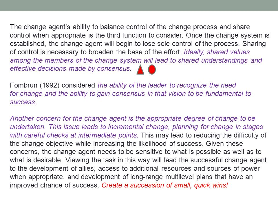 The change agent's ability to balance control of the change process and share control when appropriate is the third function to consider. Once the cha