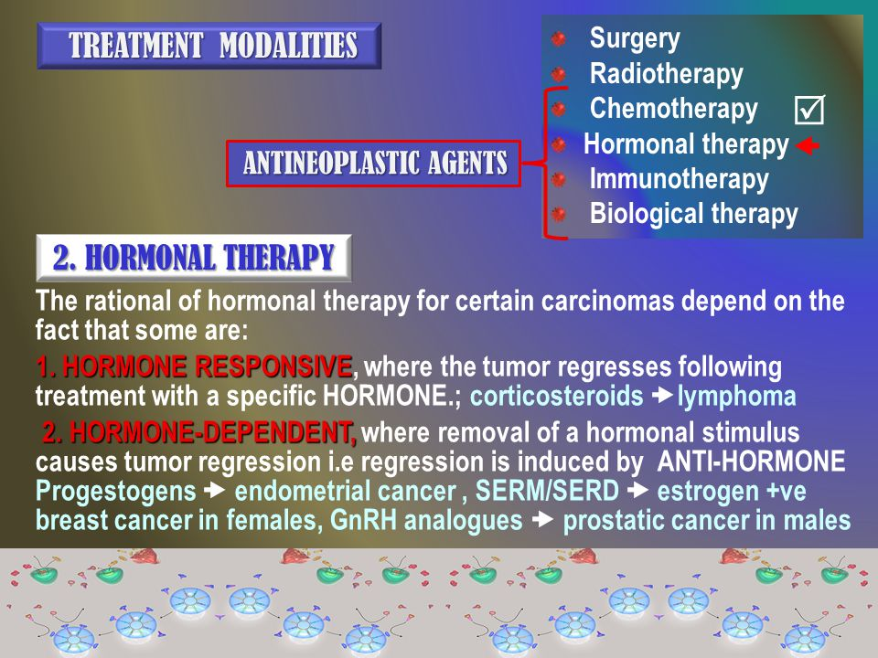 Surgery Radiotherapy Chemotherapy Hormonal therapy Immunotherapy Biological therapy TREATMENT MODALITIES TREATMENT MODALITIES ANTINEOPLASTIC AGENTS AN