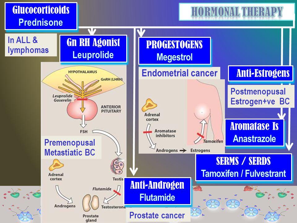 In ALL & lymphomas Glucocorticoids Prednisone Glucocorticoids Prednisone Endometrial cancer Gn RH Agonist Leuprolide Gn RH Agonist Leuprolide Premenopusal Metastiatic BC Anti-Androgen Flutamide Anti-Androgen Flutamide Prostate cancer PROGESTOGENS Megestrol PROGESTOGENS Megestrol SERMS / SERDS Tamoxifen / Fulvestrant SERMS / SERDS Tamoxifen / Fulvestrant Aromatase Is Anastrazole Aromatase Is Anastrazole Postmenopusal Estrogen+ve BC Anti-Estrogens