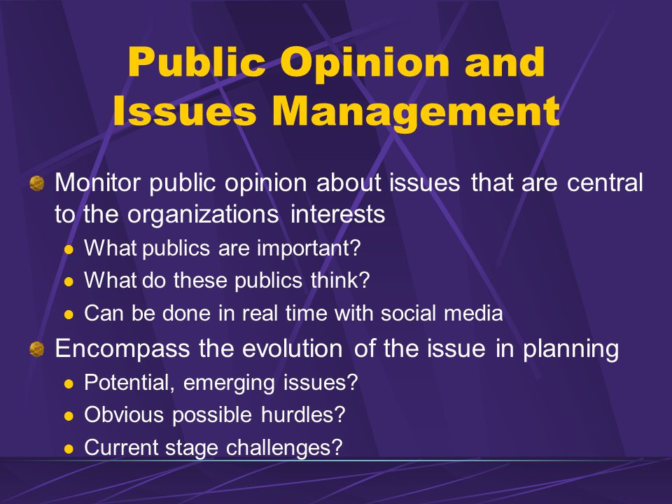 Public Opinion and Issues Management Monitor public opinion about issues that are central to the organizations interests What publics are important.