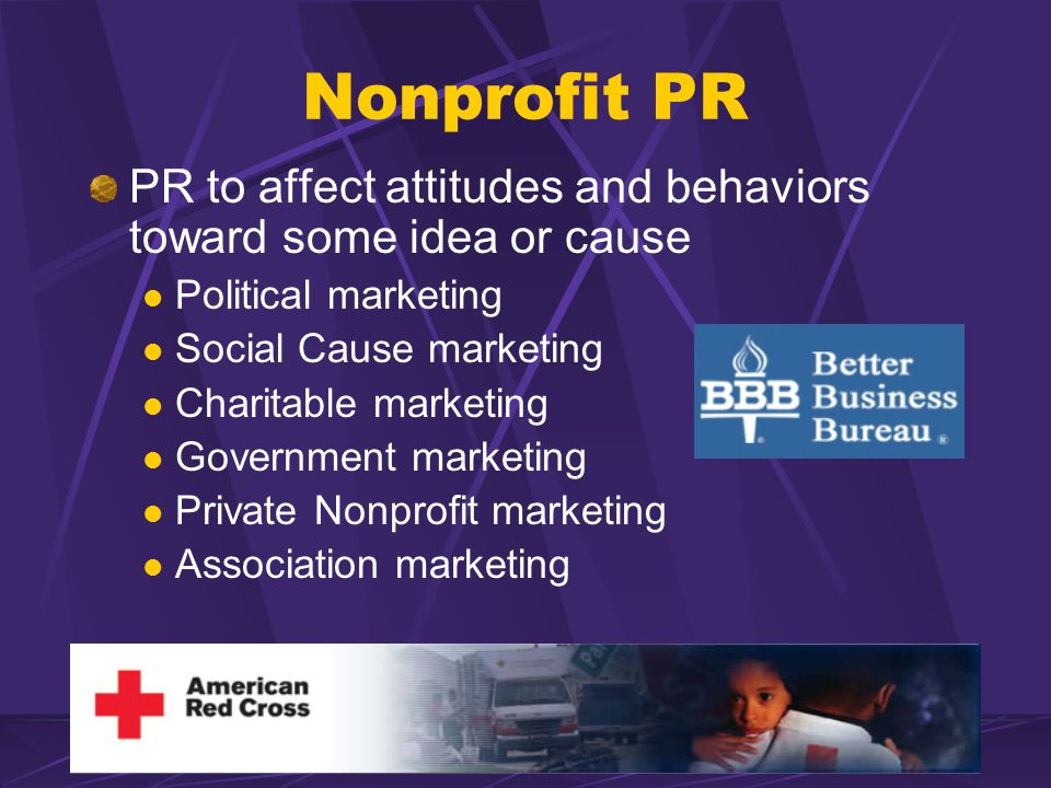 Nonprofit PR PR to affect attitudes and behaviors toward some idea or cause Political marketing Social Cause marketing Charitable marketing Government marketing Private Nonprofit marketing Association marketing