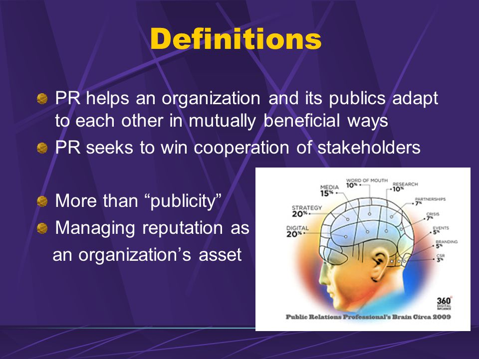 Definitions PR helps an organization and its publics adapt to each other in mutually beneficial ways PR seeks to win cooperation of stakeholders More than publicity Managing reputation as an organization's asset