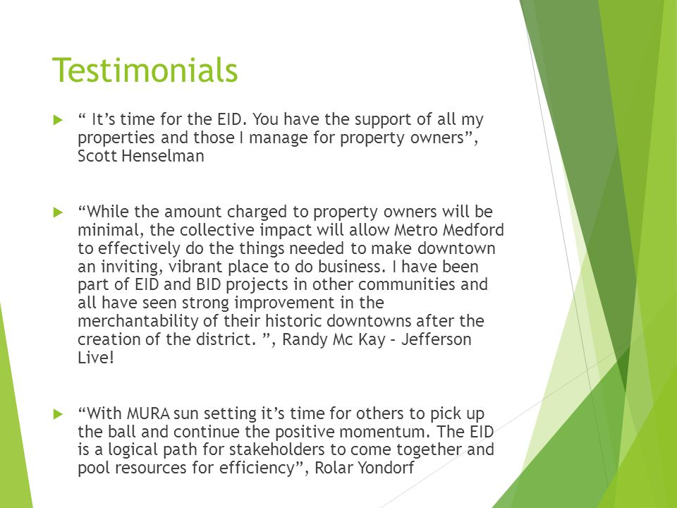 Testimonials  It's time for the EID.