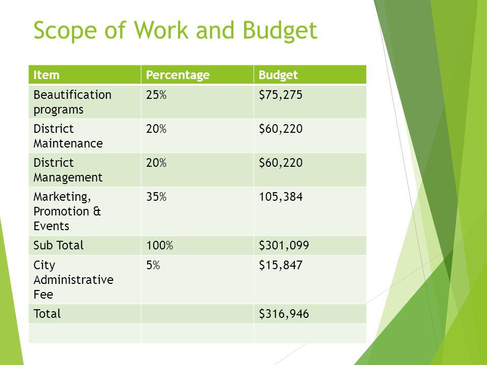 Scope of Work and Budget ItemPercentageBudget Beautification programs 25%$75,275 District Maintenance 20%$60,220 District Management 20%$60,220 Market