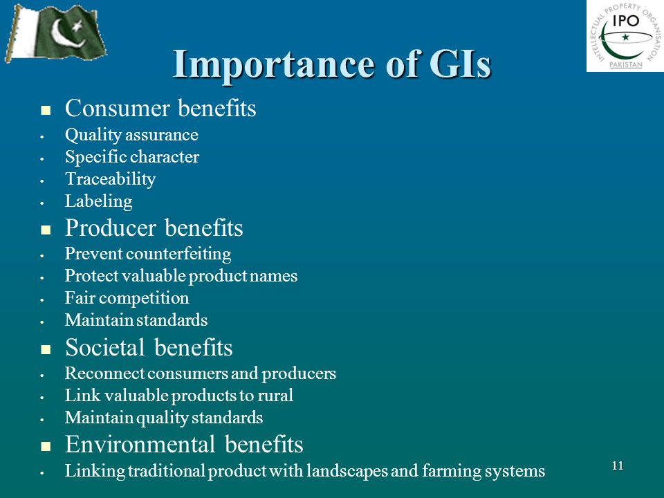 Importance of GIs Consumer benefits Quality assurance Specific character Traceability Labeling Producer benefits Prevent counterfeiting Protect valuab