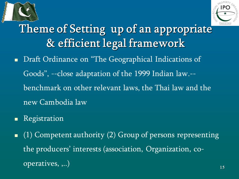 """Theme of Setting up of an appropriate & efficient legal framework Draft Ordinance on """"The Geographical Indications of Goods"""", --close adaptation of th"""