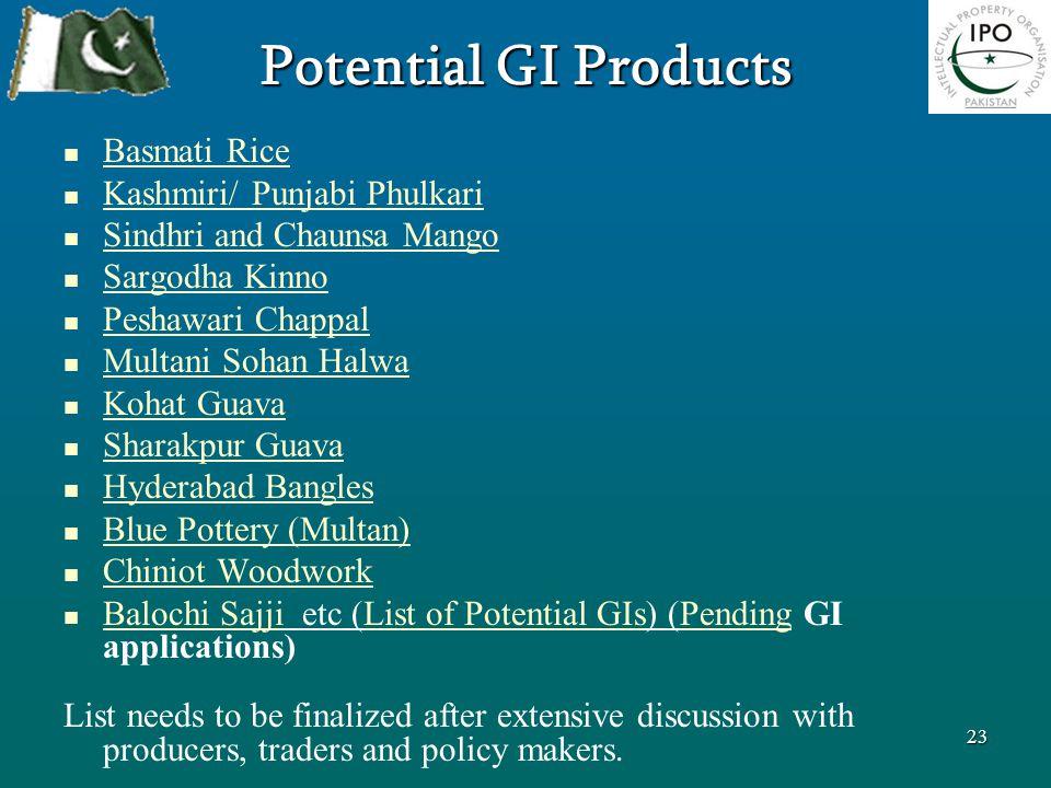 Potential GI Products Basmati Rice Kashmiri/ Punjabi Phulkari Sindhri and Chaunsa Mango Sargodha Kinno Peshawari Chappal Multani Sohan Halwa Kohat Gua